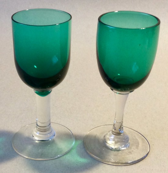 Antique green wine glasses