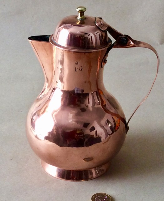 Antique early 19thC French seamed baluster copper Coffee pot