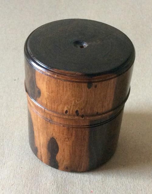 Antique Lignum Vitae turned medicine or ink bottle holder