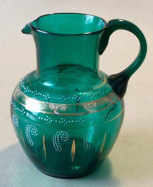 Antique Victorian enamelled  green glass water jug