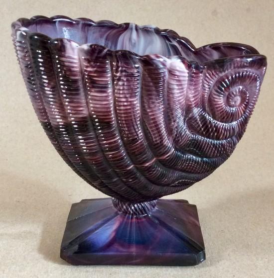 Victorian G.Davidson purple slag Glass shell vase on square base.