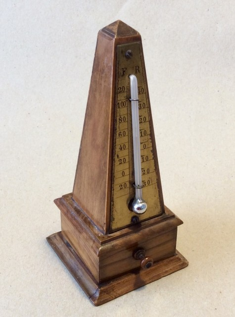 Antique Treen Obelisk desk thermometer with stamp drawer c1910