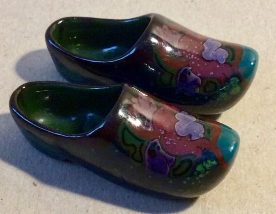 Antique pair of Gouda miniature Dutch clogs.