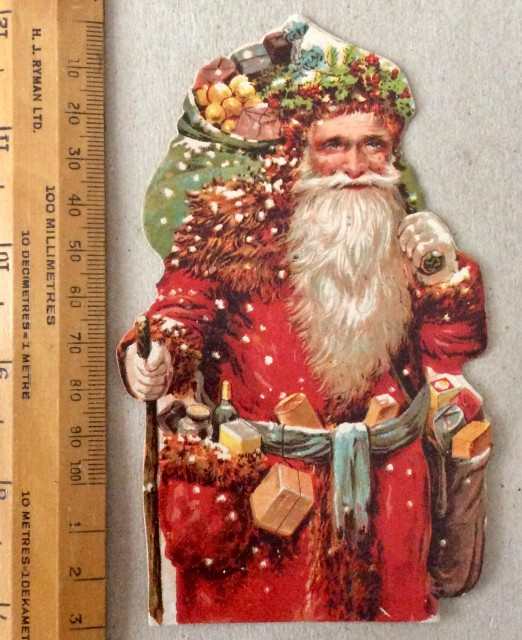 Antique Xmas 1896 card insert advertisement Dudeney & Johnston, Bedford.