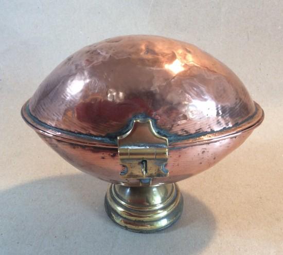 Antique C19 copper Ciborium or wafer holder.