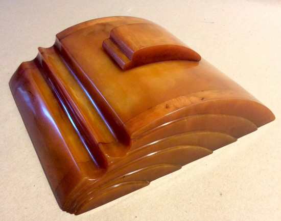 Art Deco CARVACRAFT  butterscotch Phenolic Bakelite, Catalin inkstand made by Dickinson of Hemel  Hempstead