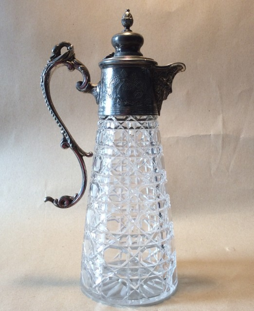 Victorian/Edwardian cut glass and EPBM Claret jug