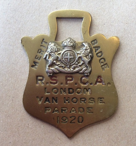 1920 RSPCA  Merit Badge for the London Van Horse Parade.