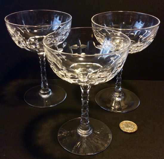 Vintage clear cut glass champagne coupes.c1930.