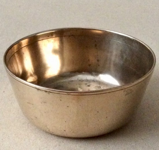 Antique small brass slope sided food bowl (eating or food preparing)
