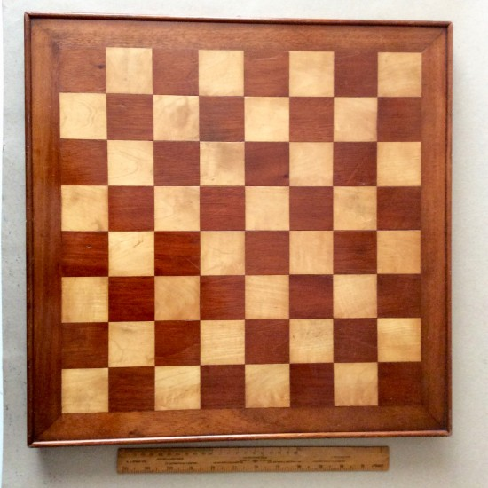 Antique early 20th century Marquetry chess board. Satinwood, walnut and mahogany.
