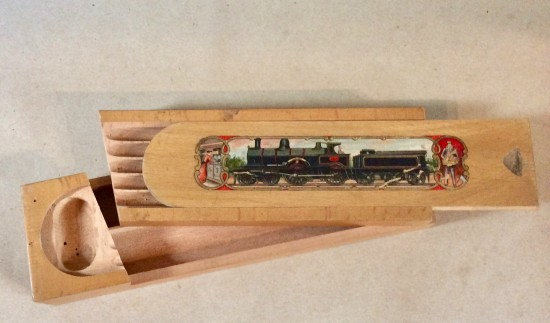 Antique transfer printed wooden pencil box. Made in Bavaria c1900.