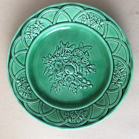 Antique green majolica relief moulded plates, c1860