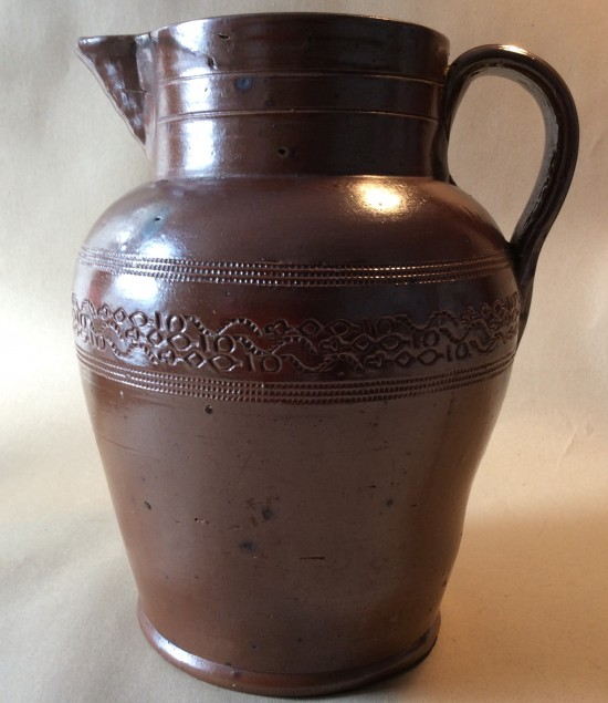 19th century large salt glazed stoneware Ale jug