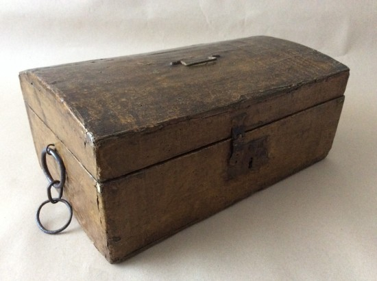 Antique Early 19th Century papered pine deed box.