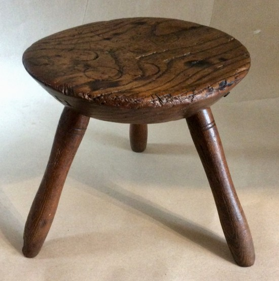 Antique 19th Century oak three leg Welsh milking stool.