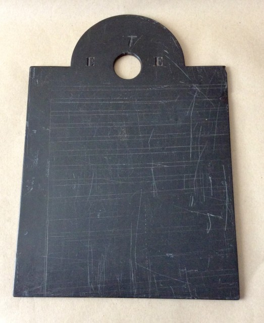 Antique 19th century Welsh school writing slate, the arched rectangle with owners initials.