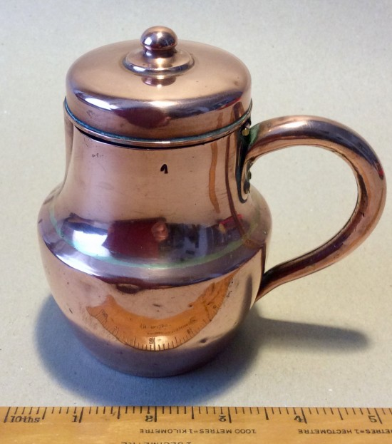 Antique copper lidded baluster milk?  jug.