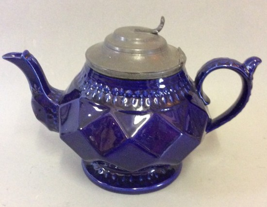 Victorian Blue glazed pottery teapot with pewter lid