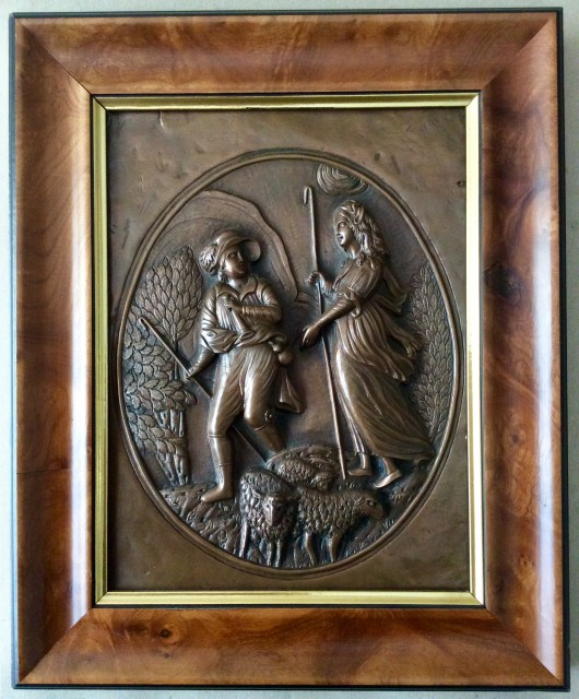 Antique repousse copper plaque engraved and hammered scene of shepherds and flock.C1860.