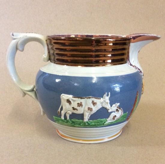Sunderland lustre creamware moulded jug