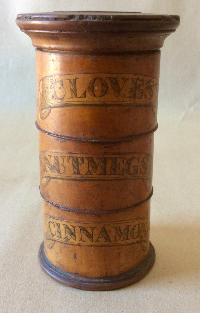 19th century  sycamore spice turret with paper labels, Cloves, Nutmeg, and Cinnamon.