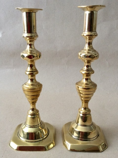 Antique Victorian  brass beehive candlesticks marked Storrars Chester.