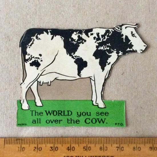 "Antique Nestle's Advertising card magazine insert. ""The World's Cow""."