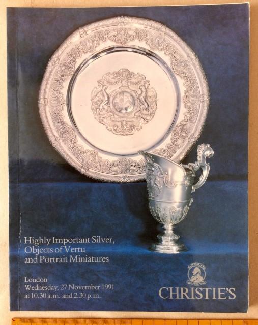 Christie's catalogue: Silver, Objets Vertu and Miniatures 27th Nov 1991.