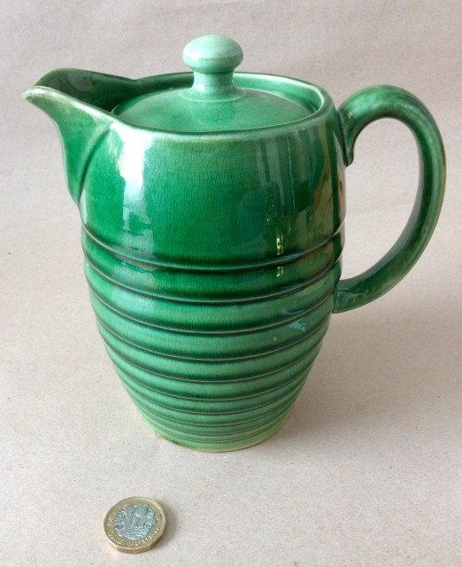 Antique green glazed ribbed pottery coffee pot