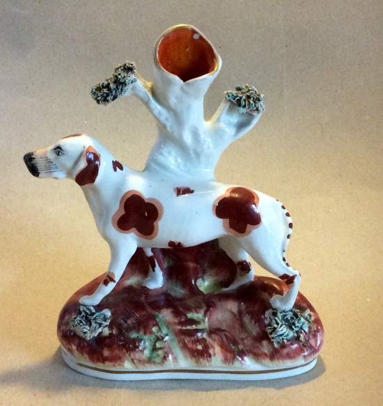 Victorian Staffs hunting dog on base