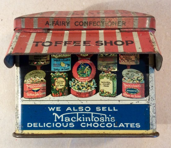 Rare Mackintosh's figural toffee shop tin c1920