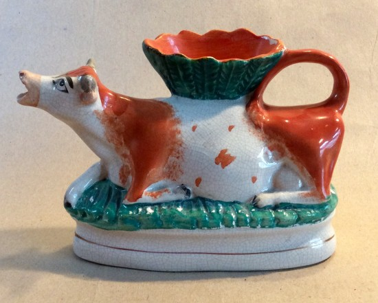 Victorian pottery Staffordshire cow creamer