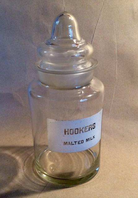 Hookers malted milk glass display or storage jar
