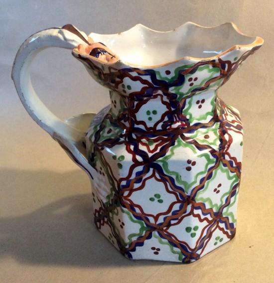 Fenton shape dragon handle Gaudy Welsh jug with unusual cross cross decoration C1830.