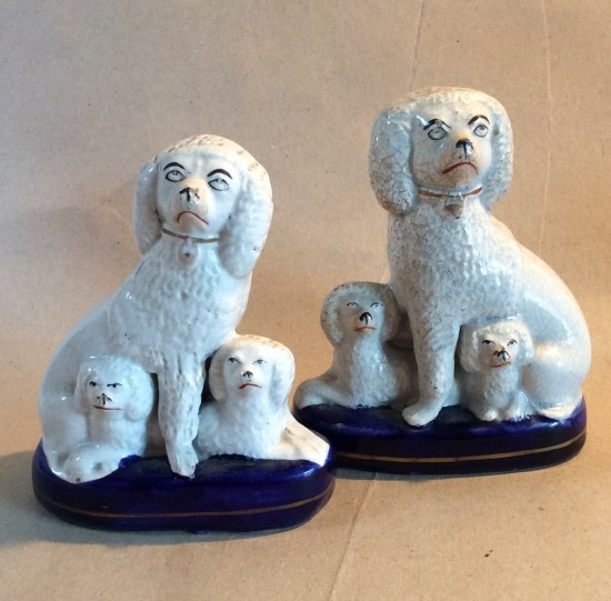 Pair Victorian Staffs poodle flatbck figures