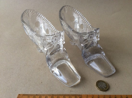 Antique pair of  clear glass shoe posy vases.
