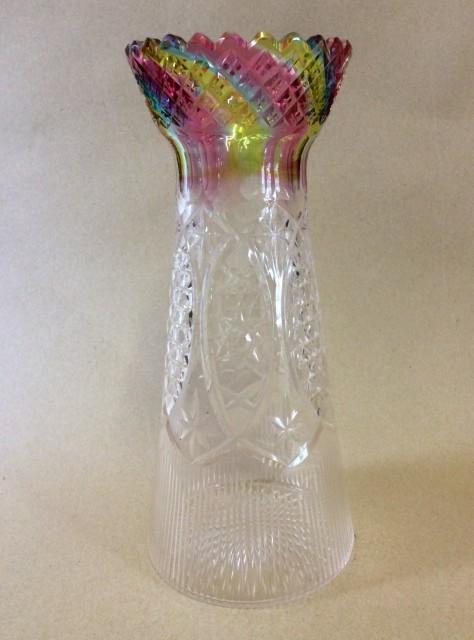 Rainbow cut glass vase Stourbridge C1930
