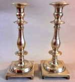 Pair of massive solid continental cast brass candlestick