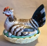 Victorian Staffordshire Hen on nest egg crock.