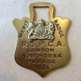 Brass 1921 RSPCA London Van Horse Parade Metrit Badge