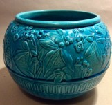 Burmantofts pottery turquoise glaze fishbowl shape jardiniere.