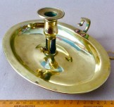 Rare Late Georgian oval  brass chamberstick