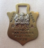 Brass 1920 RSPCA London Van Horse Parade Merit Badge