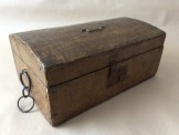 19th Century paper covered pine dome top deed box