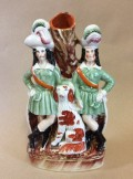 Staffordshire figure two archers and spaniel spillvase
