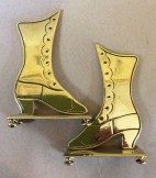 Pair brass boot mantelpiece ornaments C1880
