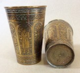 Pair of Indian engraved brass lassi beakers