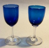 Two Victorian blue bowl wine glasses