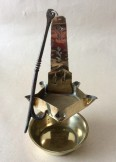 Brass five wick hanging crusie oil lamp, possibly French or Dutch